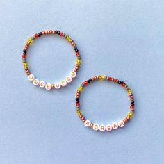 Word Bracelets, Stretch Bracelets, Beaded Bracelets, Briar Rose, Letter Beads, Pencil Bags, Gold Letters, Toiletry Bag, Czech Glass Beads