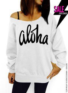 Aloha - White Slouchy Oversized Sweatshirt by DentzDenim