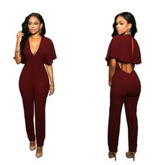 fe1f923a5925 2017 New 3 Colors Women Hollow Out V neck Sexy Club Wear Backless Jumpsuits  Party Club