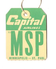 MINNEAPOLIS ST PAUL CAPITAL AIRLINES LUGGAGE TAG