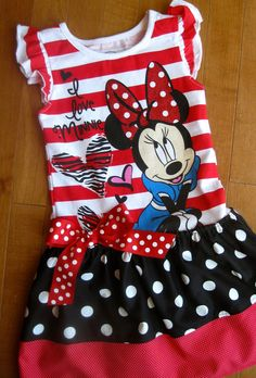 Minnie Mouse Dress Upcycle Shirt Girls 2T 3T by MadiBethCreations, $33.50