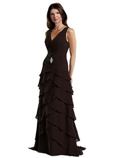 Merrily 10-105 V-Neck Sleeveless Tiered Long Chiffon Mother of the Bride Dress, cocoa size 10 - V-Neck Ruched Sleeveless Bodice, Drop Waist; Beaded Detail; Mid V-Back, Long Tiered A-Line Skirt; Chiffon