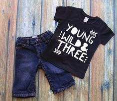 Young Wild and Three Toddler Tshirt 3rd Birthday by ModernChicKids