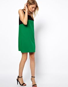 Love Shift Dress In Colour Block (Green) Size M at ASOS  £28.00