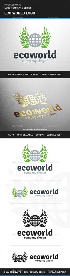 Eco World - Logo Design Template Vector #logotype Download it here: http://graphicriver.net/item/eco-world-logo-template/12845210?s_rank=501?ref=nexion