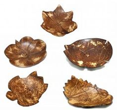 Soap Dishes, hand carved coconut shell  in tropical motifs