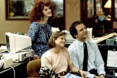 Broadcast News (1987) Director: James L. Brooks IMDB: Take two rival TV reporters: one handsome, one talented, both male. Add one producer, female. Mix well and watch the sparks fly.