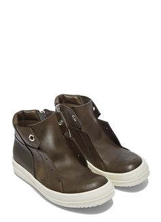 Rick Owens Island Dunk Pull-On Leather Sneaker | LN-CC