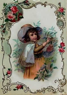 From a 1880 Antique Victorian Die Cut Scrapbook Victorian Art, Old Postcards, Vintage Children, Vintage Images, Shabby Chic, Poster, Scrapbook, Antiques, Floral
