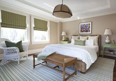 Soothing Transitional Bedroom with Tan walls, Green Accents, & White Bedspread (Scott Sanders)