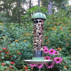 Stainless Steel Whole Peanut Bird Feeder with recycled top and bottom. Attract more birds with Peanuts in the Shell, attached metal hanger, optional Seed Tray. Homemade Bird Feeders, Diy Bird Feeder, Peanut Bird Feeder, Pine Bush, Metal Hangers, Yard Art, Bird Houses, Art For Sale, Diy For Kids