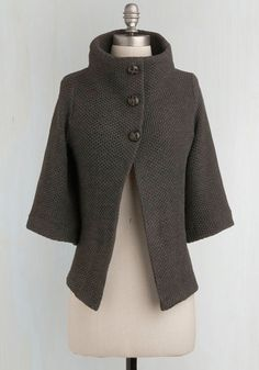 Corner Coffee Shop Cardigan in Stone - Solid, Buttons, Knitted, Casual, 3/4 Sleeve, Fall, Winter, Show On Featured Sale, Grey, Scholastic/Collegiate, Best Seller, Basic, Folk Art, Grey, 3/4 Sleeve, Maternity, Mid-length