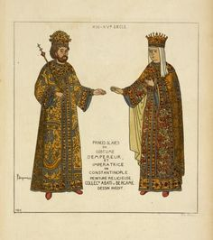 "Slavic prince and princess in ""Byzantine"" imperial costumes, as seen on icons of the 13th to the 15th century."