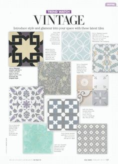Real Homes - February A selection of vintage style tiles includes Topkapi in yellow from our Artisan range. Victorian Townhouse, Victorian Tiles, Victorian House, Bathroom Floor Tiles, Kitchen Backsplash, Topps Tiles, Porch Flooring, Style Tile, Luxury Vinyl