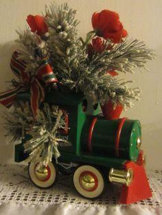 Vintage Metal Toy Train Floral Arrangement by by JewelsRosesNRust, $23.50