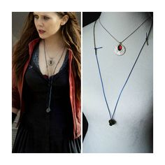 Age Of Ultron Set - Scarlet Witch Necklace - Movie Replica - Cosplay - Scarlet Witch Cosplay - Wanda Maximoff - The Avengers Scarlet Witch Costume, Marvel Gifts, Fandom Jewelry, Marvel Clothes, Age Of Ultron, Cosplay Costumes, Cosplay Ideas, How To Wear, Avengers Age