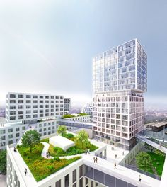 MVRDV Wins Competition to Masterplan New Innovation Port in Hamburg,The roofs of…