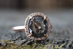 One of a Kind Natural Black Diamond Ring with Pavé Halo :: Alexis Russell Jewelry