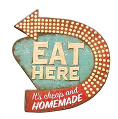DETAILSThis retro themed wall decor is a unique piece for your kitchen or house , showcasing a arrow sign that reads - Eat Here.Product:Wall DecorConstruction Material:TinColor:Distressed - Red,GreenFeatures:Sign Reads - Eat here : Its cheap and homemadeDimensions:16