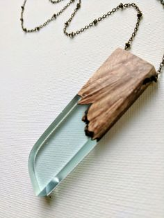 Light Blue Resin and Wood Necklace with Rounded Edge – Muro Jewelry