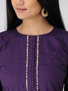 Stylish And Beautiful Latest kurti Neckline Designs - The handmade craft Salwar Suit Neck Designs, Neck Designs For Suits, Kurta Neck Design, Sleeves Designs For Dresses, Neckline Designs, Dress Neck Designs, Stylish Dress Designs, Kurta Designs Women, Kurti Back Neck Designs
