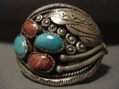 One Of The Oldest Spiny Oyster Vintage Navajo 'Snake' Turquoise Silver Bracelet