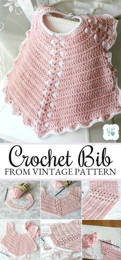 Sweet crochet baby bib is adapted from a vintage pattern and perfect for a toddl. : Sweet crochet baby bib is adapted from a vintage pattern and perfect for a toddler. Almost too pretty to use as a bib but adorable to dress up an outfit. Crochet Baby Bibs, Crochet Baby Blanket Beginner, Crochet Baby Clothes, Baby Knitting, Crochet Hats, Crochet Collar, Crochet Baby Dresses, Crochet Outfits, Crochet Baby Dress Pattern