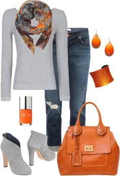 """I never thought about using amber / orange with gray (""""~Orange and Gray~"""" by mels777 on Polyvore)"""