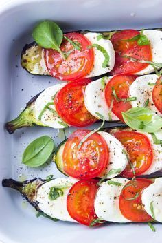 Such an easy summer side! Grilled zucchini topped with caprese: tomatoes, fresh mozzarella, and basil   littlebroken.com @littlebroken