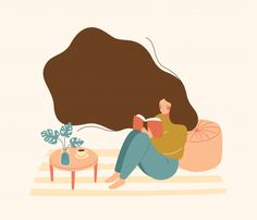 Young woman with floating hair sits on f. Art And Illustration, People Illustration, Character Illustration, Graphic Design Illustration, Graphic Art, Art Plastique, Cartoon Art, Cute Art, Art Inspo