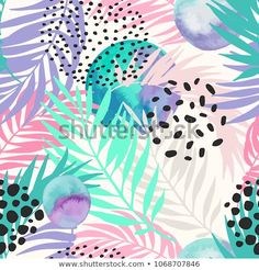 Abstract summer seamless pattern. Floral and geometric background with palm leaves, doodle, watercolor texture, stains, 80s 90s shapes. Hand drawn natural illustration. Vector art