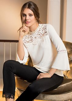 Together Flared Sleeve Lace Sweater