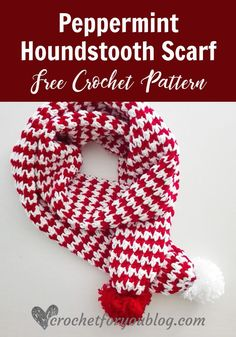 Peppermint Houndstooth Scarf Free Crochet Pattern - Crochet For You Free Form Crochet, Crochet Motifs, Crochet Stitches Patterns, Tunisian Crochet, Crochet Shawl, Irish Crochet, Knit Stitches, Crochet Granny, Stitch Patterns