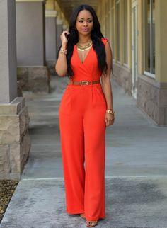 Sleeveless V Neck Sashes Women Bodysuit.  Red