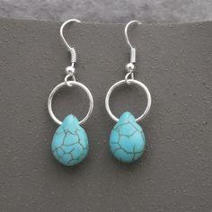 Dangle Earrings Turquoise Hoop Earrings Silver and by GumboStew