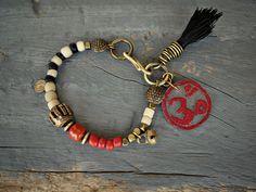 Yoga bracelet, Om Bracelet, Ethnic bracelet, Hippie, bohemian, Charm, Friendship bracelet. Tassel, Trade bead bracelet.