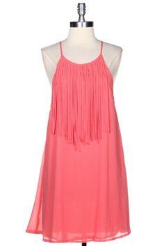 Girl's Best Fringe Dress - Coral