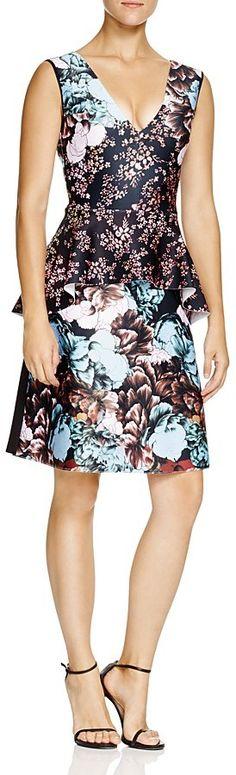 Clover Canyon Floral Sunset Peplum Dress
