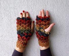 Cocodrilo ganchillo puntada guantes sin dedos guantes por mareshop: