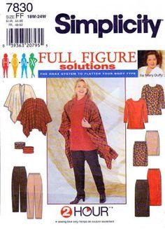 Simplicity Sewing Pattern 7830 Women's Plus Size 18W-24W Tunic Skirt Pants Poncho