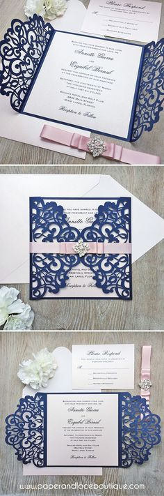 Garden Themed Navy Blue Laser Cut Wedding Invitations SWWS025