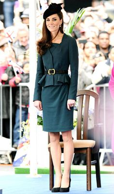 Classic Kate - To help Queen Elizabeth kick off the Diamond Jubilee tour in London, the Duchess chose a ladylike, 1930s-inspired teal dress by LK Bennett (designer of her beloved, frequently-worn nude pumps) topeed with a belted peplum jacket, plus a James Lock hat on March 8, 2012.