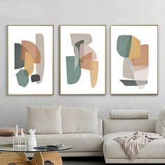 Living Room Decor Set Of 3 Prints Abstract Shapes Art Printable Wall Art Abstract Geometric Modern Poster Yellow Green Art Abstract Print - New Ideas Abstract Shapes, Abstract Wall Art, Geometric Art, Abstract Print, Geometric Poster, Living Room Decor Set, Living Room Art, Green Wall Art, Green Art