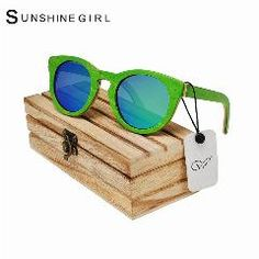 [ 20% OFF ] Top Brand Designer Men Wood Sunglasses Polarized Green Skateboard Wood Sunglasses Wooden Box Retro Vintage Eyewear