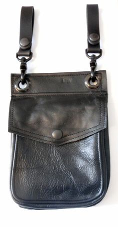 Darkwear Black on Black Leather Hip Pouch Belt Pouch by Darklysewn, $54.00