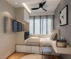 59 minimalist bedroom design ideas that looks more cool 32 Small Bedroom Designs, Small Room Design, Small Room Bedroom, Home Bedroom, Bedroom Decor, Bedrooms, Home Room Design, Bed Design, Home Interior Design