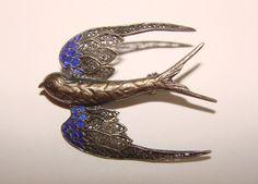 Enamel and Filagree Sterling Silver Barn Swallow Brooch