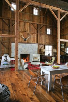 Michigan Barn | Recalimed Wood, Great Room, Hearth | Northworks Architects + Planners