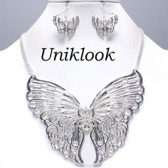Gorgeous Silver Lace Filigree Butterfly Delicate Necklace Set Costume Jewelry $20.99