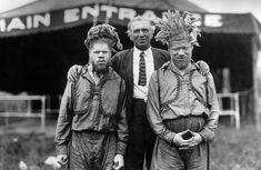 Albino Brothers Kidnapped | George and Willie Muse with Barnum & Bailer circus owner, ca. 1920.